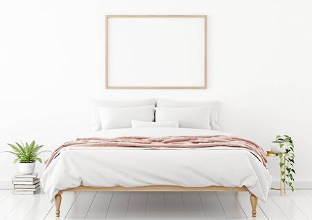 Poster mockup with horizontal wooden frame hanging on the wall in bedroom interior with unmade bed, pink plaid and green plants on empty white background. 3D rendering, illustration.
