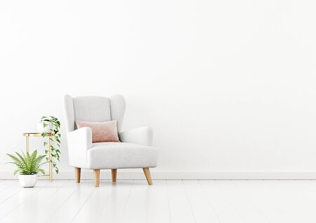 Living room interior wall mockup with white fabric armchair, pink pillow and green plants on empty white wall background. 3D rendering, illustration. 스톡 콘텐츠