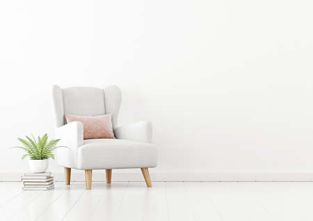 Living room interior wall mockup with white fabric armchair, pink pillow and green fern plant on empty white wall background. 3D rendering, illustration. 스톡 콘텐츠