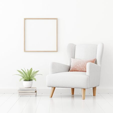 Poster mockup with square wooden frame hanging on the wall in living room interior with armchair, pink pillow and green fern plant on empty white background. 3D rendering, illustration.