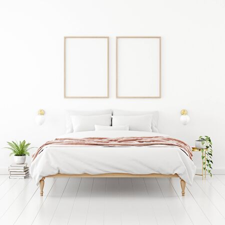 Poster mockup with two vertical wooden frames hanging on the wall in bedroom interior with unmade bed, pink plaid and green plants on empty white background. 3D rendering, illustration.
