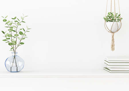 Interior wall mockup with branches in blue vase and hanging macrame pot with green plant on empty white background. 3D rendering, illustration.