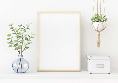 Interior poster mockup with vertical gold metal frame on the table with plants in blue vase and hanging macrame pot on empty white wall background. A4, A3 size format. 3D rendering, illustration.