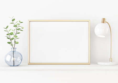 Interior poster mockup with horizontal gold metal frame on the table with plant in blue vase and lamp on empty white wall background. A4, A3 size format. 3D rendering, illustration.