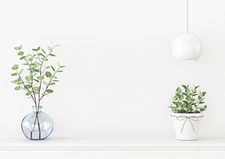 Interior wall mockup with branches in blue vase, hanging lamp and green plant in pot on empty white background. 3D rendering, illustration.