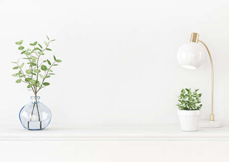 Interior wall mockup with branches in blue vase, lamp and green plant in pot on empty white background. 3D rendering, illustration. 스톡 콘텐츠