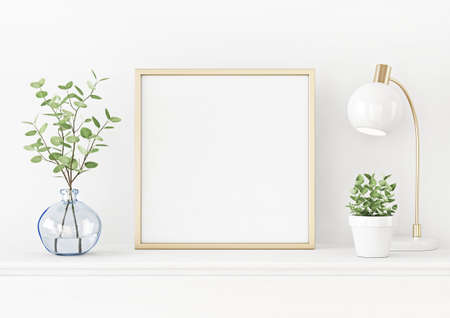 Interior poster mockup with square gold metal frame on the table with plants in blue vase, pot and lamp on empty white wall background. 3D rendering, illustration.