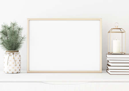 Horizontal poster mock up with golden frame, lantern, pile of books and pine branches in vase on white wall background. 3D rendering.