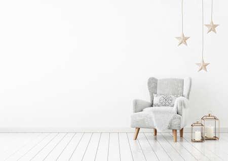 Christmas livingroom interior with velvet armchair, pillow, stars and lanterns on white wall background. 3D rendering. 免版税图像