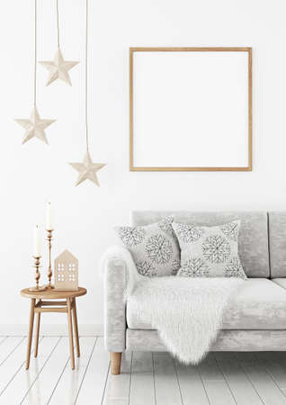 Square poster mock up with wooden frame on the wall in christmas livingroom interior. 3D rendering. Imagens - 152955562