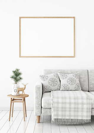Horizontal poster mock up with wooden frame on the wall in christmas livingroom interior. 3D rendering.
