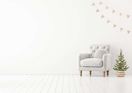 Living room interior wall mock up with gray tufted armchair, fur pillow, garland and decorated christmas tree on empty white background. 3D rendering.