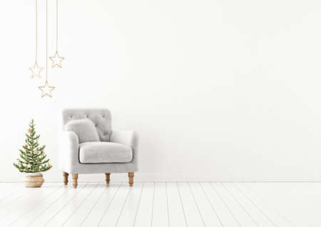 Living room interior wall mock up with gray tufted armchair, fur pillow and decorated christmas tree on empty white background. 3D rendering. 版權商用圖片