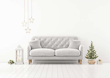 Living room interior wall mock up with gray tufted sofa, fur pillows, lantern and decorated christmas tree on empty white background. 3D rendering.