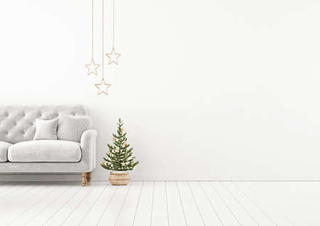 Living room interior wall mock up with gray tufted sofa, fur pillow, stars and decorated christmas tree on empty white background. 3D rendering.