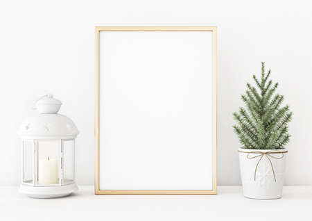 Vertical christmas poster mockup with golden frame, fir tree and candle lantern on white wall background. 3D rendering, illustration.