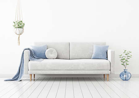 Living room interior wall mockup with gray velvet sofa, blue pillows, plaid, hanging plant and green branch in vase on empty white wall background. 3D rendering, illustration.