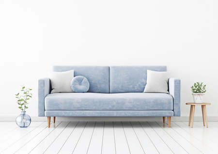 Living room interior wall mockup with blue velvet sofa, gray pillows, green plant branch in vase and coffee table with pot on empty white wall background. 3D rendering, illustration.