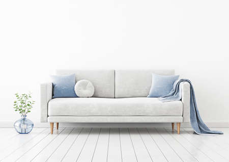 Living room interior wall mockup with gray velvet sofa, blue pillows, plaid and green plant branch in vase on empty white wall background. 3D rendering, illustration.