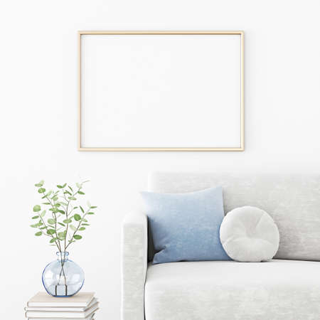 Poster mockup with horizontal frame hanging on the wall in living room interior with sofa, blue pillow and green branches in vase. 3D rendering, illustration.