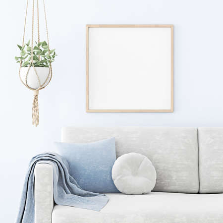 Poster mockup with square wooden frame hanging on the wall in living room interior with sofa, blue pillow and macrame plant hanger. 3D rendering, illustration. Imagens