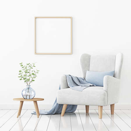 Poster mockup with square frame hanging on the wall in living room interior with armchair, blue pillow and branches in vase on empty white background. 3D rendering, illustration. Imagens
