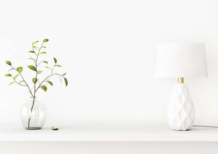 Interior wall mockup with green tree branch in vase and a lamp standing on the shelf on empty white background with free space on center. 3D rendering, illustration. Imagens