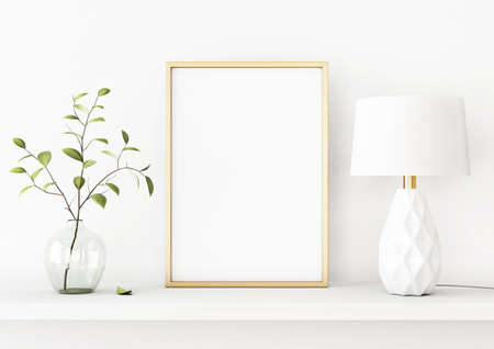 Interior poster mockup with vertical gold metal frame on the shelf with green tree branch in vase and lamp on empty white wall background. A4, A3 size format. 3D rendering, illustration.