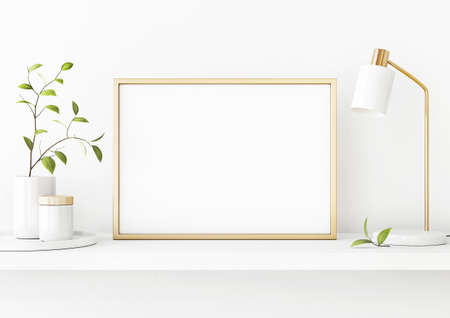 Interior poster mockup with horizontal gold metal frame on the shelf with green tree branch in vase and desk lamp on empty white wall background. A4, A3 size format. 3D rendering, illustration.