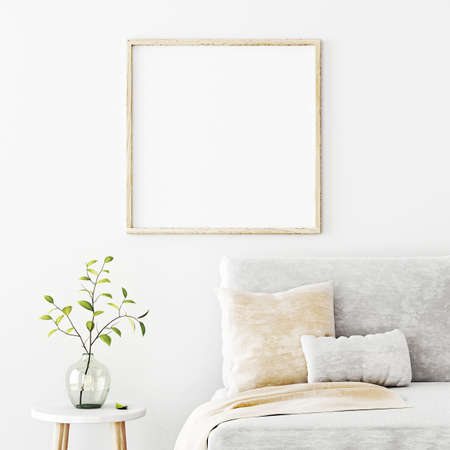 Poster mockup with square frame hanging on the wall in living room interior with sofa, beige pillows and green branch in glass vase on empty white background. 3D rendering, illustration.
