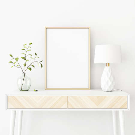 Interior poster mockup with vertical gold metal frame on the console table with green tree branch in vase and lamp on empty white wall background. A4, A3 size format. 3D rendering, illustration.