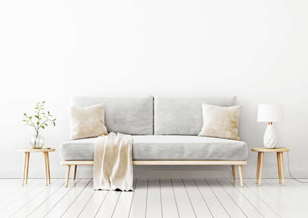 Interior wall mockup with gray velvet sofa, beige pillows and plaid, branch in vase and lamp on coffee table in living room with empty white wall background. 3D rendering, illustration.