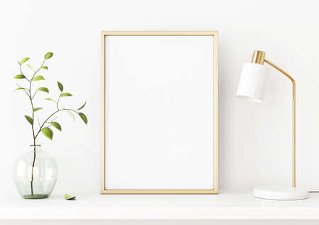 Interior poster mockup with vertical gold metal frame on the shelf with green tree branch in vase and desk lamp on empty white wall background. A4, A3 size format. 3D rendering, illustration. Imagens