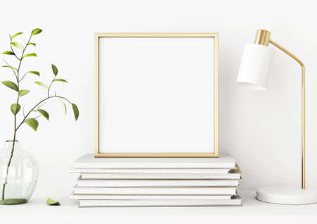 Interior poster mockup with square gold metal frame on pile of books, green tree branch in vase and desk lamp on empty white wall background. 3D rendering, illustration.