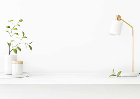 Interior wall mockup with green tree branch in vase, ceramic decore and desk lamp standing on the shelf on empty white background with free space on center. 3D rendering, illustration. Imagens