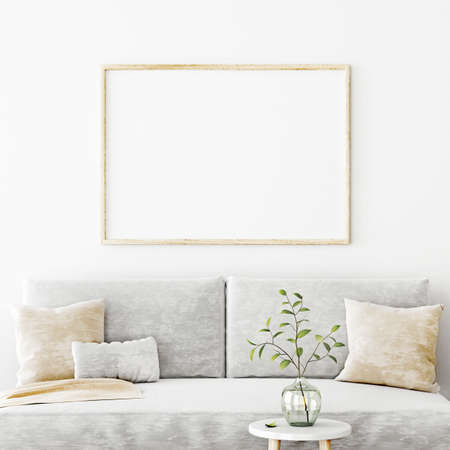Poster mockup with horizontal frame hanging on the wall in living room interior with sofa, beige pillows and green branch in glass vase on empty white background. 3D rendering, illustration.