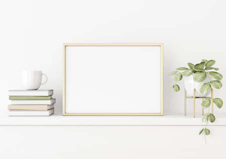 Poster mockup with horizontal gold metal frame on the table with green plant in pot, books, cup and trendy interior decoration on empty white wall background. A4, A3 size. 3D rendering, illustration. Imagens