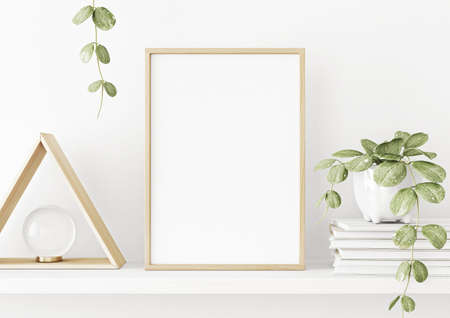 Interior poster mockup with vertical wooden frame on the shelf with green plant in pot and trendy decoration on empty white wall background. A4, A3 size format. 3D rendering, illustration.