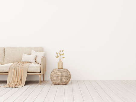 Living room interior wall mockup in warm tones with beige linen sofa, pillows, plaid, dried grass, woven basket table and boho style decoration on empty wall background. 3D rendering, illustration.