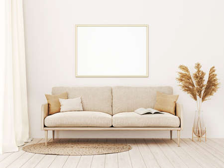 Horizontal frame mockup in warm living room interior with beige sofa, pillows, open book, dried Pampas grass and boho style decoration on empty wall background. 3D rendering, illustration Imagens