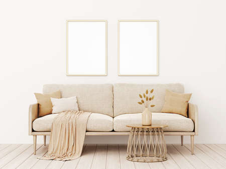 Vertical poster mockup with two frames in living room interior with beige sofa, pillows, plaid, dried grass, basket table and boho style decoration on empty wall background. 3D rendering, illustration