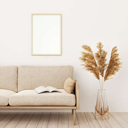 Vertical frame mockup in warm living room interior with beige sofa, pillows, open book, dried Pampas grass and boho style decoration on empty wall background. 3D rendering, illustration Imagens