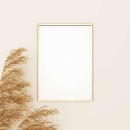 Vertical frame mockup in boho style with dried grass decoration on empty beige wall background. 3D rendering, illustration