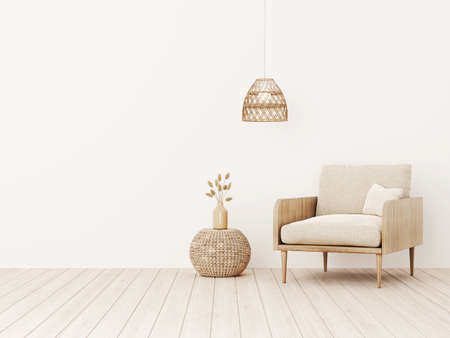 Living room interior wall mockup in warm tones with beige linen armchair, dried gras, woven table and basket lamp. Boho style decoration on empty wall background. 3D rendering, illustration.