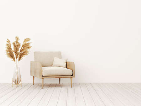 Living room interior wall mockup in warm tones with beige linen armchair and dried Pampas grass in trendy vase. Boho style decoration on empty wall background. 3D rendering, illustration. Imagens