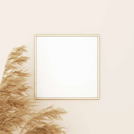 Square frame mockup in boho style with dried grass decoration on empty beige wall background. 3D rendering, illustration Imagens