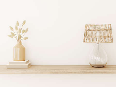 Wall mockup in warm tones with dried grass in vase, wicker lamp and books on empty beige background. Room interior boho style decoration. 3d rendering, illustration