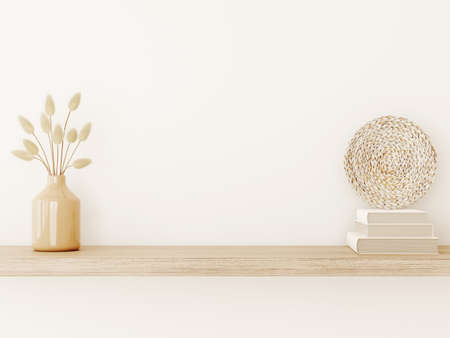 Wall mockup in warm tones with dried grass in vase, wicker plate and books on empty beige background. Room interior boho style decoration. 3d rendering, illustration