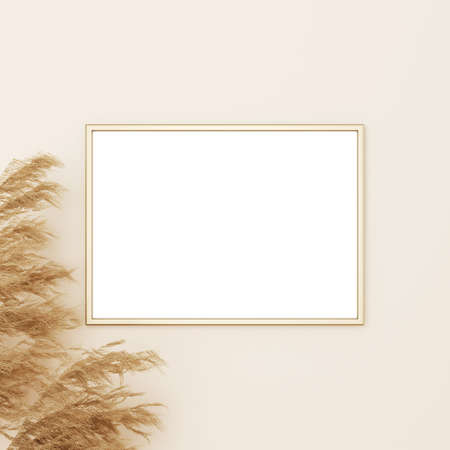 Horizontal frame mockup in boho style with dried grass decoration on empty beige wall background. 3D rendering, illustration