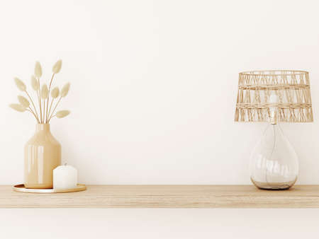 Wall mockup in warm tones with dried grass in vase, wicker lamp and candle on empty beige background. Room interior boho style decoration. 3d rendering, illustration Imagens
